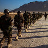 Afghan army recruits march as part of their daily training.