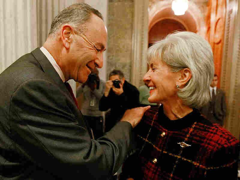 Sen. Charles Schumer  and HHS Secretary Kathleen Sebelius