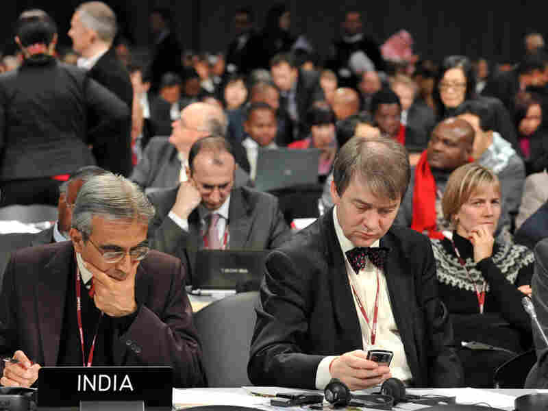 Delegates work at the climate conference in Copenhagen.