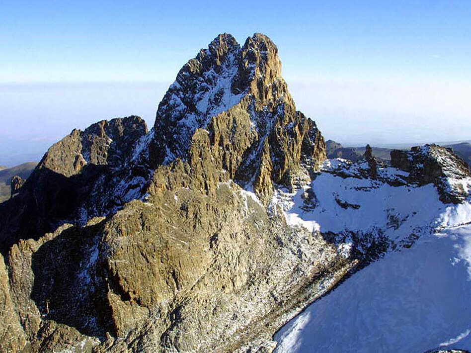 An aerial view of Mount Kenya, known as Mount Kirinyaga to the Kikuyu. The Kikuyu entity Ngai has lived for millennia atop the Kenyan mountain. Its snows, mists and clouds were representative of Ngai's breath, spirit and conversation with his people.