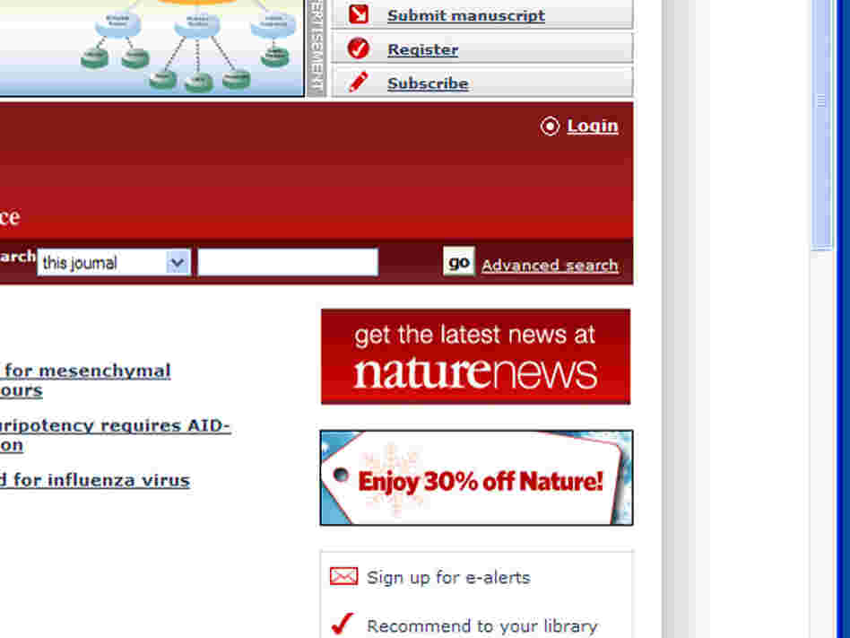 Screen grab of incorrect snowflake on Nature.com