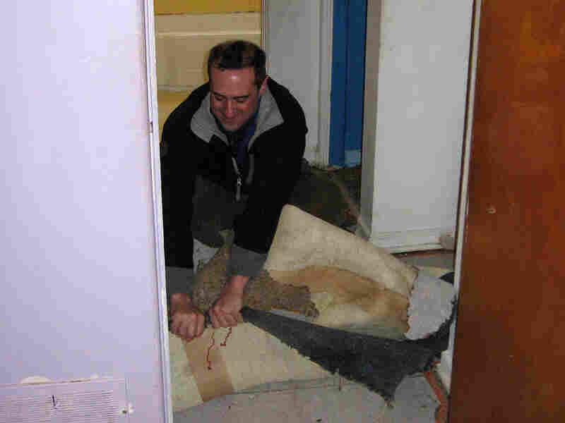 New homeowner Brian Chalmers ripped out the carpet to expose the oak hardwood floors underneath.