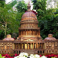 A miniature version of the U.S. Capitol, at the U.S. Botanic Gardens.