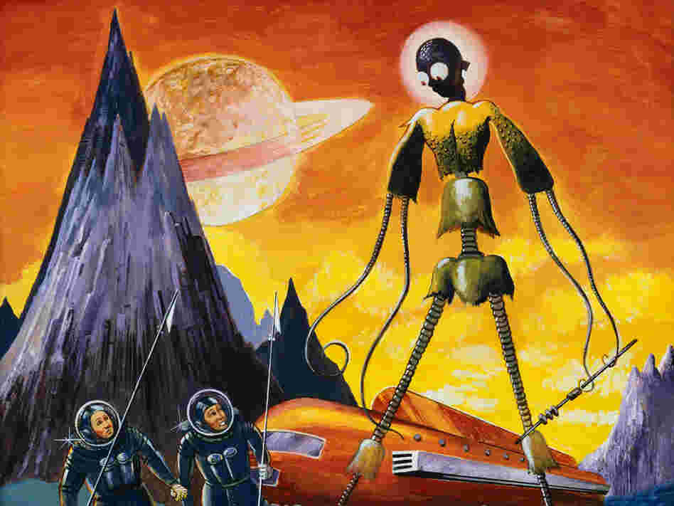 Painting of Extraterrestrial Alien with Two Astronauts by Anton Brzezinski --- Image by Forrest J. A