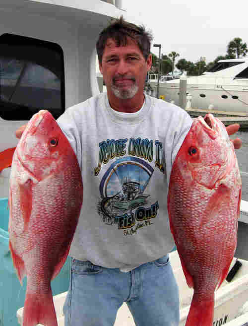Fisherman Robert Johnson holds two large red snapper that he caught.