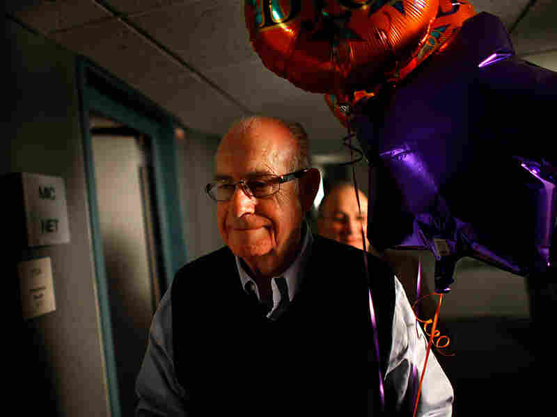 NPR's Carl Kasell is seen after delivering his final newscast