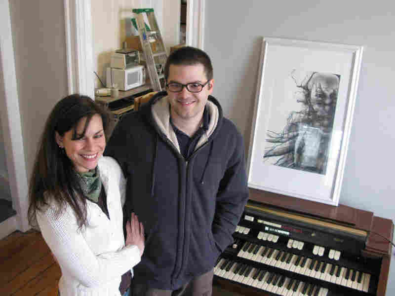 Songwriter Jonathan Downing and his wife, Tiffany Sewell, in the home they recently purchased.