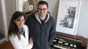 Wide: Songwriter Jonathan Downing and his wife, Tiffany Sewell, in the home they recently purchased.