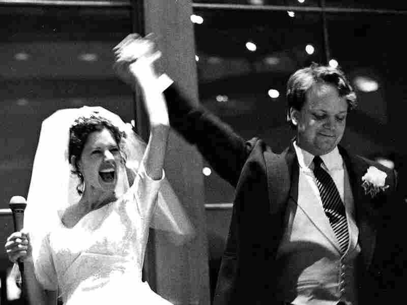 Producer Sasha Aslanian with her husband, Leif Larsen, at their wedding reception in Edina, Minn.