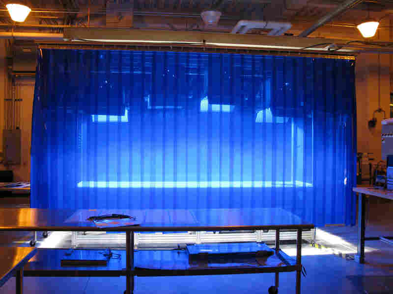 A blue chamber used to test solar panels