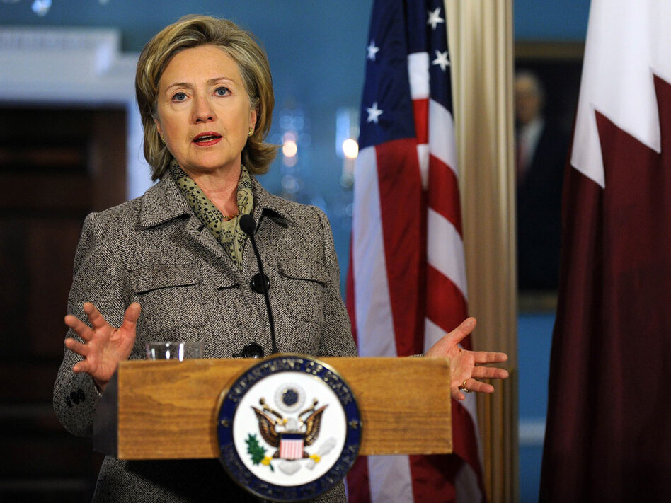 Secretary of State Hillary Clinton speaks to the press in Washington, D.C., on Monday. Clinton said instability in Yemen poses a threat to regional and global security.