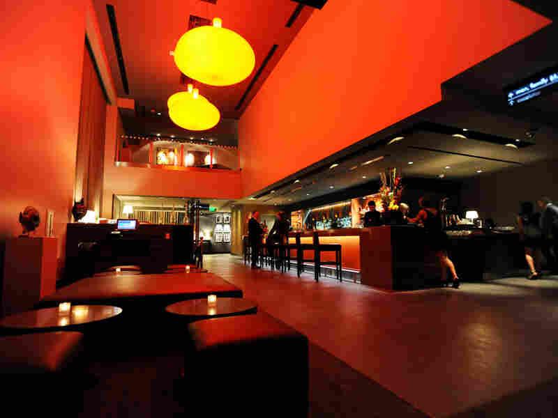 The swanky bar and lounge at Gold Class Cinemas in Pasadena, Calif.