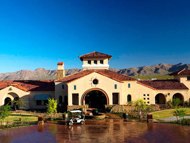 A clubhouse in Sun City's newest community, Sun City Festival.  This community is larger and more opulent than the original Sun City, reflecting a general trend toward more resort-like retirement communities.