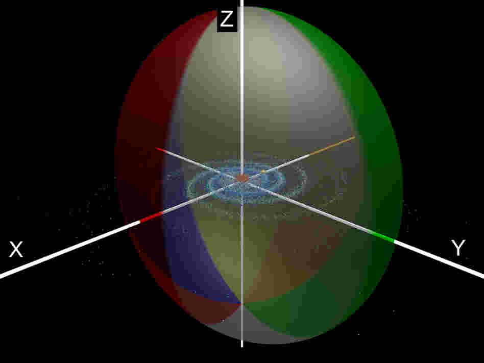 "A ""squashed beachball"" representation of the dark matter halo surrounding the Milky Way Galaxy."