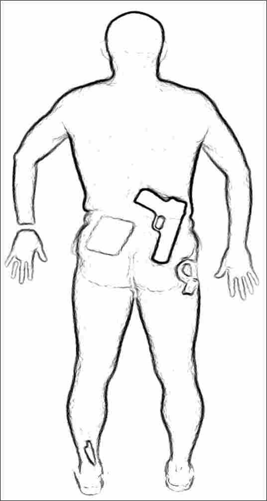Back image of a man's scan, with simulated weapons visible