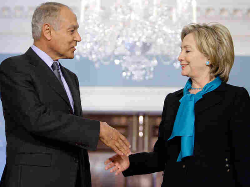 Secretary of State Hillary Clinton shakes hands with Egyptian Foreign Minister Ahmed Ali Aboul Gheit