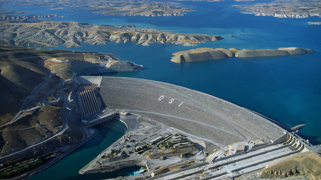 The massive Ataturk Dam (shown here in 1992), in southeast Turkey, harnesses water for one of the biggest irrigation and electric power schemes in the world. A drought and other factors have created an acute water shortage in the Middle East, and resentment in countries downstream from Turkey is growing.