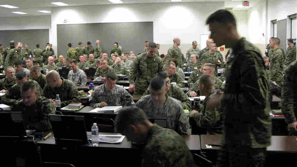 Marines in class. Thomas Pierce/NPR
