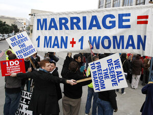 Demonstrators for and against same-sex marriage protest in San Francisco.