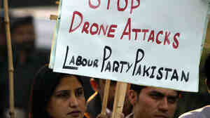 Supporters of the Pakistani Labour Party rally against the United States and condemn drone attacks.