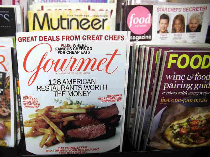 An issue of 'Gourmet' magazine on a newsstand