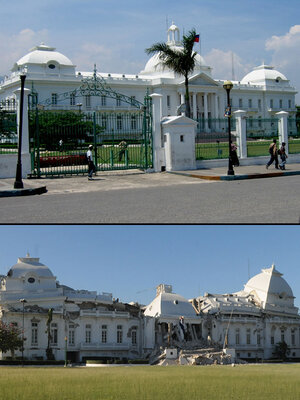 The National Palace in Port-au-Prince, Haiti, before  and after Tuesday's earthquake.