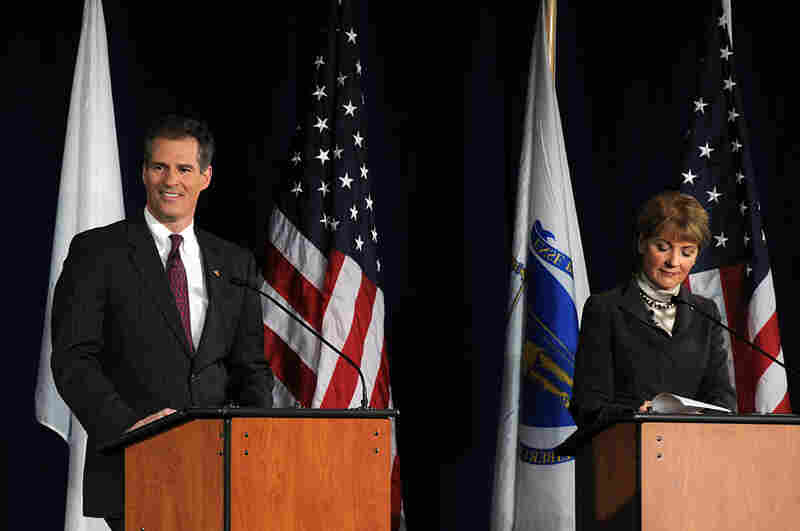Senate candidates Brown and Coakley prepare for a debate at the University of Massachusetts.