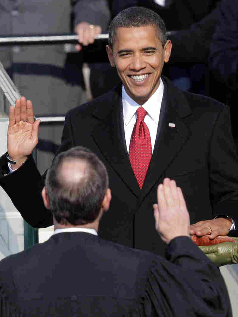 Barack Obama takes the oath of office from Chief Justice John Roberts on Jan. 20, 2009.
