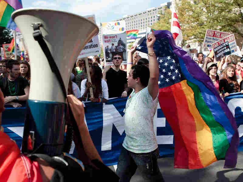 Gay rights activists convened in Washington, D.C., to voice their frustration with President Obama.