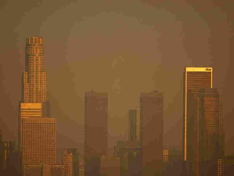Smog shrouds the Los Angeles skyline.
