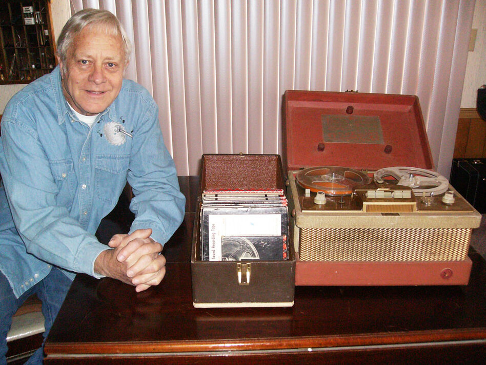 Randy Harmison with the recording equipment he used to tape King's speech at Bethel College.