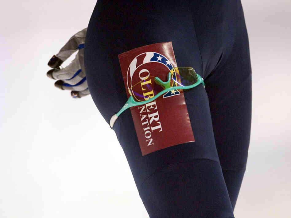 Katherine Reutter, member of the US speed skating team, is sporting a 'Colbert Nation' patch.