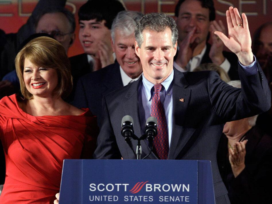Scott Brown celebrates his victory.