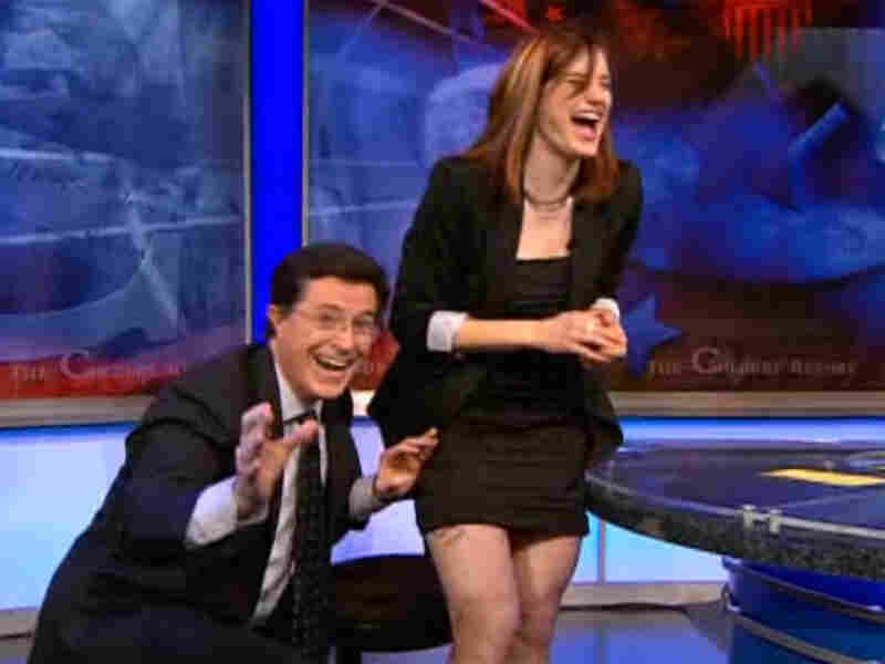 Screen grab from Stephen Colbert interview with Katherine Reutter