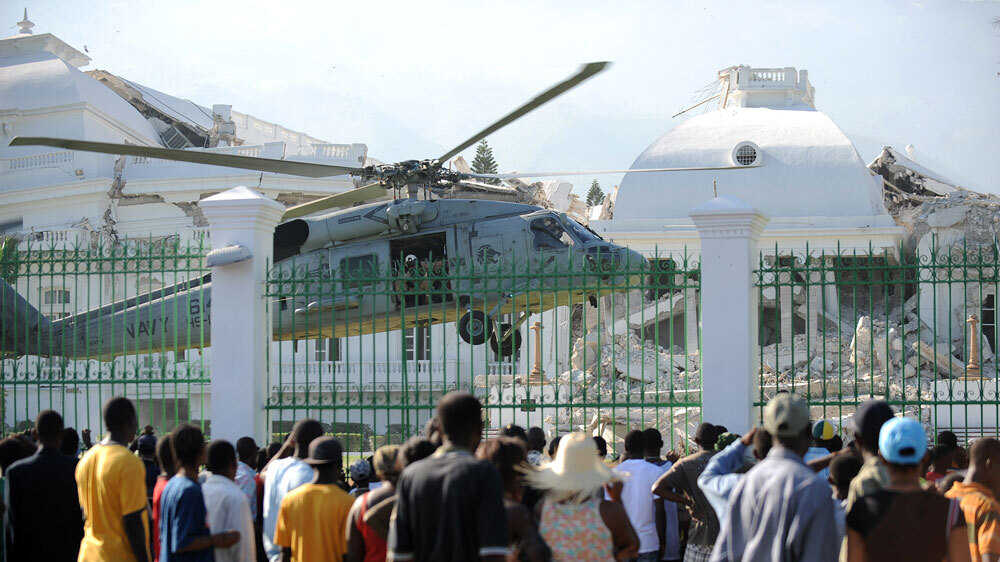 haiti palace army presidential earthquake tuesday land updates helicopter npr marines
