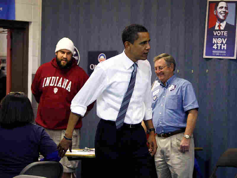 On Election Day, Barack Obama stopped by a campaign office in Indianapolis to work the phones.