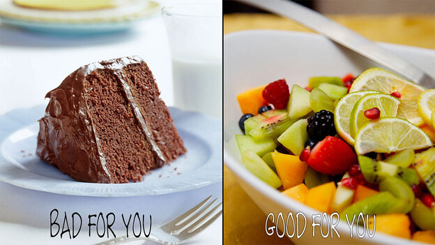 Cake and fruit