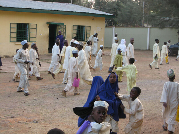 Children in the courtyard of the Rabiatu Mutallab Institute for Arabic and Islamic Studies, a religious school in Kaduna, Nigeria. Umar Farouk Abdulmutallab, accused of the Christmas Day bombing attempt, studied at the school, which is named for his grandparents and funded by his father.