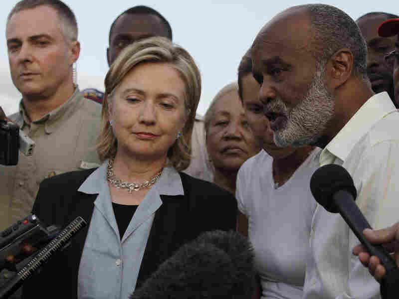 Haiti's President Rene Preval and Secretary of State Hillary Clinton