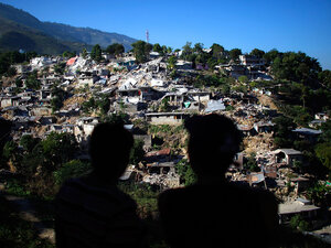 A hillside of destroyed homes near downtown Port-au-Prince on Jan. 15.