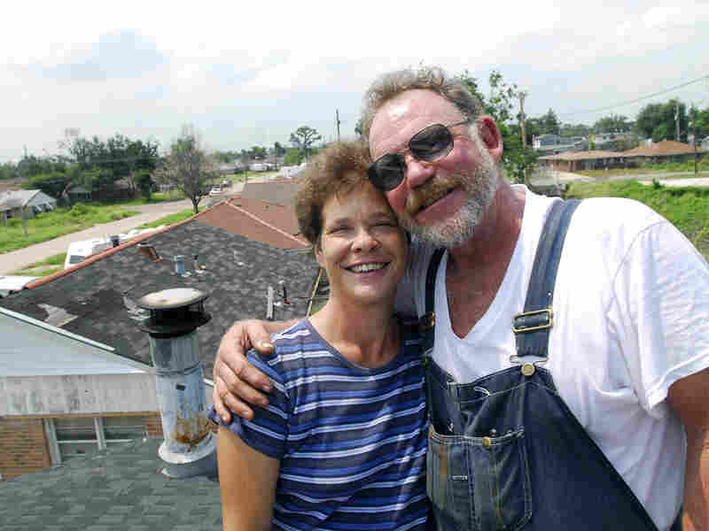 Colleen and Donald Bordelon on the roof their home in August 2006.