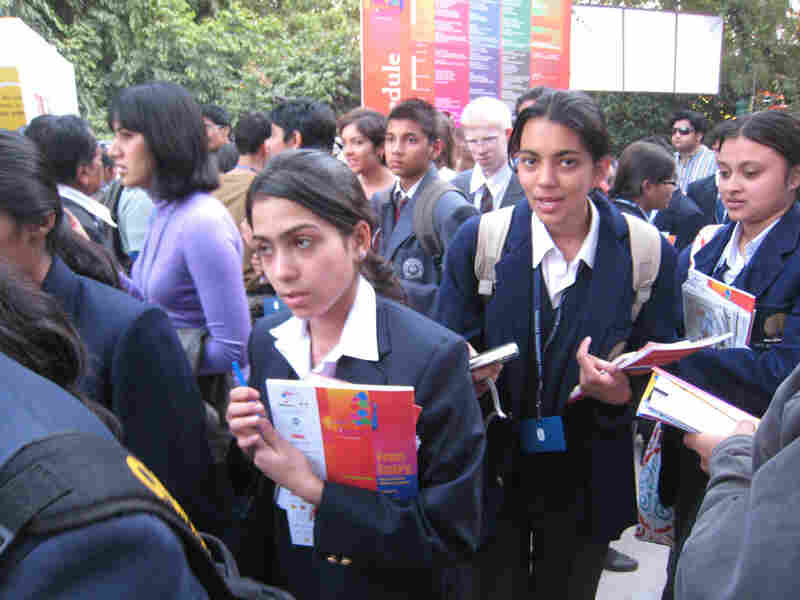 Indian schoolgirls on the hunt for autographs at the Jaipur Literature Festival.