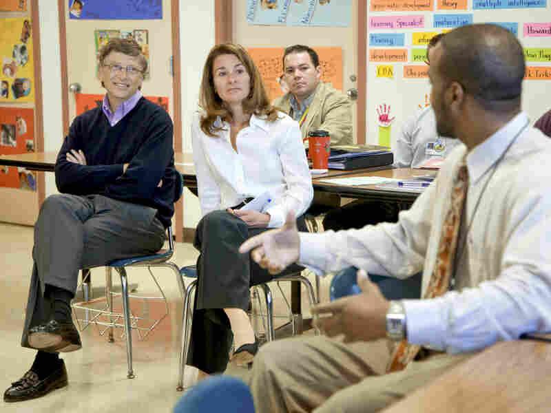 Bill and Melinda Gates visit Lee High School in Houston.