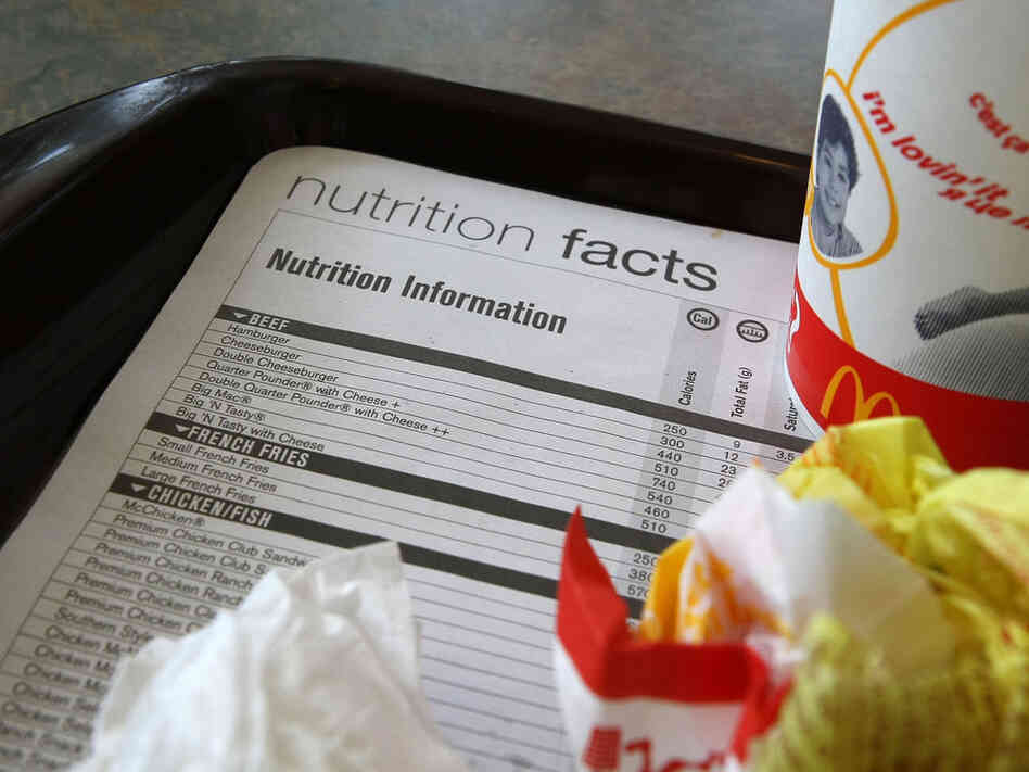 A McDonald's nutritional information label on a tray.