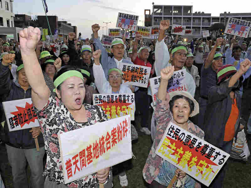 Local residents protest against a U.S. military base in Kadena on Okinawa island, Nov. 5, 2009