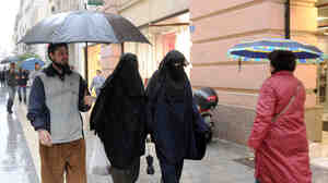 Veiled Muslim women in Marseille, France, in December 2009