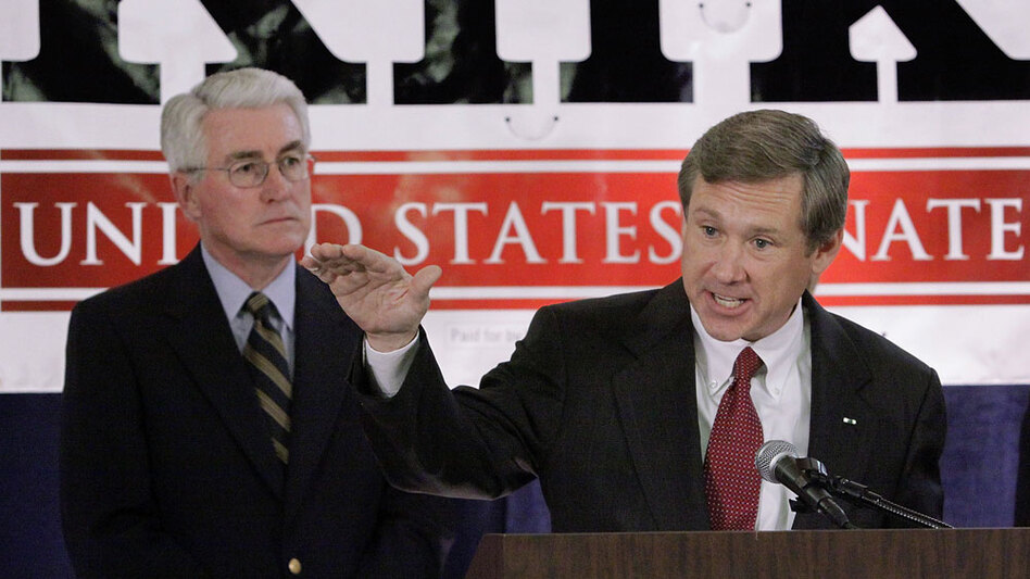 Former Illinois Gov. Jim Edgar (left) looks on as Senate candidate Mark Kirk campaigns in Springfield, Ill., last July.