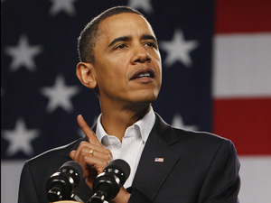 Obama speaks at a town hall-style meeting at Lorain County Community College in Elyria, Ohio