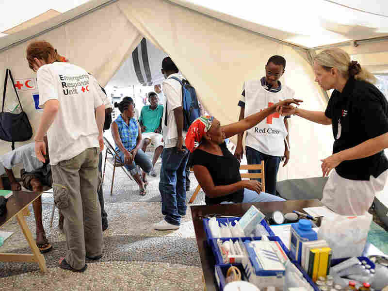 Patients are treated at a Finnish Red Cross tent in Port-au-Prince on January 26, 2010.