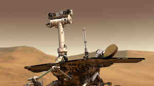 An artist's rendering of a NASA Mars Exploration Rover on the surface of Mars.